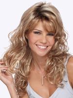 perruque brune frisée achat en gros de-18 pouces mode brun perruque blonde cosplay longue perruque blonde frisée perruques synthétiques résistant à la chaleur avec des reflets ombre perruques pour les femmes