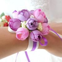 Wholesale wedding bracelets online - Rose Artificial Bride Flowers Bracelets Pearl Floral Hand Wrist Corsage Adjustable for Wedding Party Decoration Ceremony Party