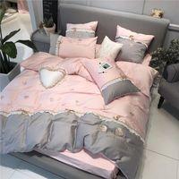 ingrosso set di biancheria rosa grigio-Ricamo principessa rosa grigio biancheria da letto in cotone egiziano copriletto trapuntato federe king size