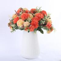 suni ipek beyaz ortanca toptan satış-Ortanca İpek Çiçek Topu Beyaz Karahindiba Yapay Çiçekler Doğum Ana Düğün Dekorasyon Aksesuarları Sahte Çiçek Buket