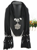 Wholesale women jewelery for sale - Group buy Rose flower Fashion Jewelery Scarf With charms Pendant Fassels Scarf Women brand fashion design accessories