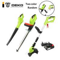 ferramentas de corte de sebes venda por atacado-DEKO 3 Em 1 Bateria de Li-ion 20 V 2000 mAh Sem Fio Aparador De Grama Hedge Trimmer e Leaf Blower Garden Tool Set