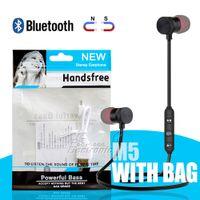 ingrosso earbud al minuto di iphone-M5 Cuffie Bluetooth senza fili Sport con auricolari magnetici Earset con microfono MP3 Auricolari BT 4.1 Pacchetto OPP di vendita al dettaglio