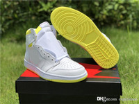 Wholesale first class for sale - Group buy 2019 Newest Air Authentic High OG First Class Flight Retro White Dynamic Yellow S Black Men Basketball Shoes Sneakers With Box