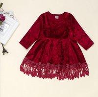 Wholesale pleuche dress resale online - Baby Girls Pleuche Tassel Dress Spring Long Sleeve Velvet Tassel Dress Infant Toddler Party Princess Dresses Y
