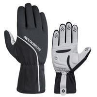 сенсорный экран платы оптовых-ROCKBROS Winter Outdoor Sports Thermal Snow Gloves Windproof Waterproof Touch Screen Reflective Snow Board Gloves For Snowboard