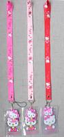 animado rosa al por mayor-10 unids rosa nuevo anime hello kitty Titular de la Tarjeta de Identificación con Lanyard Correa para el Cuello Tarjeta Bus ID Titulares Con llavero