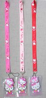 Wholesale anime lanyard strap resale online - 10pcs pink new anime hello kitty Card Holder Identity Badge with Lanyard Neck Strap Card Bus ID Holders With Key Chain