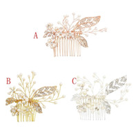 Wholesale bridal combs resale online - Luxury Pearl Crystal Hair Combs Headdress Prom Bridal Wedding Hair Accessory Rose Gold Silver Leaf Flower Jewelry Pins