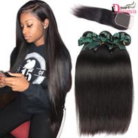 kraliçe saç ürünleri perulu vücut dalgası toptan satış-Brezilyalı Düz Bakire Saç 3 veya 4 Demetleri ile Kapatma İşlenmemiş İnsan Saç Uzatma Düz Örgüleri Demetleri ile 4x4 Dantel Kapatma