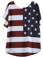 Wholesale usa flag women resale online - Women T Shirts USA American Flag Star Striped Printed V neck short Sleeve Summer Tops Independence Day th July Tees Girls LJA2393