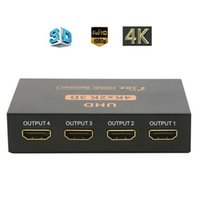 ingrosso interruttore ultra hdmi-Ultra HD 4K HDMI divisore 1X4 Port 3D UHD 4K * 1080p 2K video HDMI dello scambista HDMI 1 Ingresso 4 Uscita HUB Repeater Amplifier