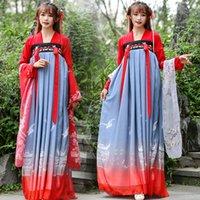 vestidos de baile de hadas al por mayor-Hanfu mujeres de las minorías danza china trajes de hadas princesa vestidos Folklorique vestido tradicional de la dinastía Tang ropa DN3601