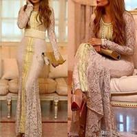 nakış dantel gece elbisesi uzun kol toptan satış-Fas Kaftan Tam Dantel Uzun Kollu Abiye Resmi Elbiseler 2019 özel Yapmak Altın Nakış Kaftan Dubai Abaya Arapça Durum Balo kıyafeti