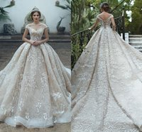Wholesale lighting beach for sale - Group buy Luxury Sparkly Light Champagne Wedding Dresses New Off Shoulder Full Lace Appliques Sequined Corset Back Wedding Bridal Gowns BC2035