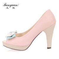 0005872c9de3 Dress Fanyuan 2019 Beautiful Girl's High Heels Sweet Butterflyl-knot Mujer  Stilettos Mixed Coor Peep Toe Women High Pumps Size 31-45
