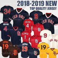 beyzbol formaları kırmızı toptan satış-Red Sox 9 Ted Williams 1 Ozzie Smith Ortiz St Louis Beyzbol formaları Kardinal Kansas formaları 19 Tony Gwynn erkek Retro Dikişli forması
