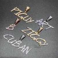gebürsteten goldschmuck großhandel-Hip Hop Pinsel Schriftart benutzerdefinierte Brief Anhänger Halskette Iced Out Kubikzircon Charm Schmuck für Männer Frauen