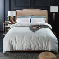ropa de cama púrpura simple al por mayor-Blanco liso Gris Rosa Azul Verde Púrpura Naranja Juego de cama Juego de cama tamaño Queen King Edredón Sábanas 100% algodón Textiles