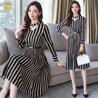 robes coréennes plus achat en gros de-Automne Hiver 2019 Xxxl Taille Plus piste rayé noir Midi robes coréenne femmes moulante robe de soirée sexy à manches longues Robes
