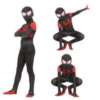 erkekler için anime cosplay kostümleri toptan satış-Ücretsiz nakliye Yeni Örümcek Adam Sıkı tulum Küçük Kara Örümcek Adam Cosplay Anime Kostüm New Era Evren Kid takım Paralel
