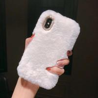 ingrosso casi di pelliccia cellulare-Coniglio Cell Phone Case TPU capelli diamante della pelliccia della peluche per iPhone 11 Pro X XS Max XR 8 7 6 Mobile Shell inverno caldo copertura molle