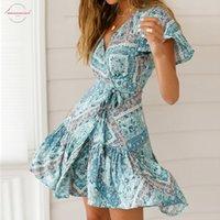 sexy tierdruck minikleid großhandel-Bohemian Print-Sommer-Kleid gekräuseltes kurzes Hülsen-Schärpen Minikleid mit V-Ausschnitt Animal Print Damen Damen-Kleider Vestidos Sexy 2019