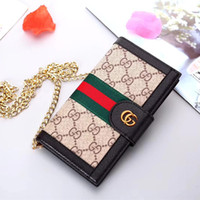couverture de portefeuille en métal achat en gros de-Portefeuille de luxe pour téléphone pour iPhone X XR max 6 6 plus 7 7 plus 8 8 plus designer chaîne d'épaule en métal sacs en cuir couverture cas de téléphone