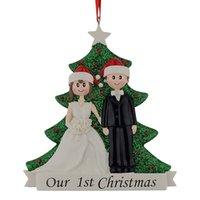 personalisierte weihnachtsschmuck großhandel großhandel-Großhandel paar unsere erste weihnachten harz glitter baum ornamente personalisierte geschenk mit kiefer für urlaub party wohnkultur