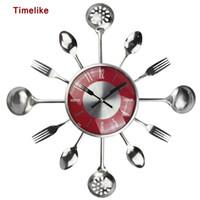 Wholesale kitchen clocks spoons resale online - 18Inch Large Decorative Wall Clocks Saat Metal Spoon Fork Kitchen Wall Clock Cutlery Creative Design Home Decor Relogio De Pared Y200109