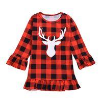 Wholesale ruffled lace clothes resale online - Chritmas kids Girls Plaid Dress Long Sleeve Ruffle Deer Head Print Girls Dresses Xmas Kid Clothing Baby Princess Dress Clothes M544