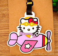 Wholesale silicone clutches resale online - New Cute Hello kitty Tag Silicone Tags ID Holder Case yey C61WB