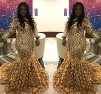 Wholesale hand made pictures rose flowers resale online - 2019 New Design Plus Size Prom Dresses With Rose Flowers Gold Lace Long Sleeves V Neck Party Evening Gowns Formal Dresses