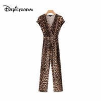 модные модели комбинезоны оптовых-2019 Cross V neck leopard print jumpsuits animal pattern bow tie sashes pleated fashion rompers female casual playsuits