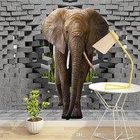 фото фото оптовых-Пользовательские 3D фото обои реалистичные стены слона нарушение искусства настенная живопись гостиная диван телевизор фон 3d обои фрески