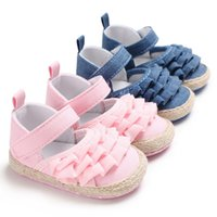 Wholesale baby moccasins shoes online - New Fashion Baby Moccasins Cute Toddler First Walker Princess Soft Soled Baby Girls Shoes Newborn Sneakers For M