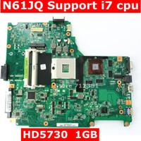 ddr3 anakart toptan satış-N61JQ Anakart Destek i7 CPU ASUS N61JA N61JQ Laptop Anakart Için REV2.1 HM55 HD5730 1 GB DDR3 60-NY9MB1200-C03 Tam Test