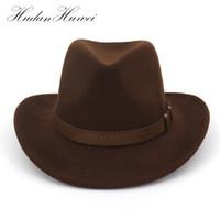 Wholesale felt cowboy hats for sale - Vintage Western Cowboy Hats For Men  Wide Brim Sun a88ad15911f