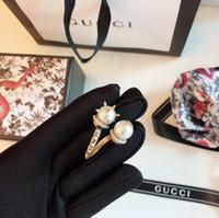 Wholesale copper hoop heart earrings for sale - 2019 new Luxuries designers jewelry women brand earrings pearl letter hoop stud earrings druzy bijoux Boucles d oreille de marque de luxe