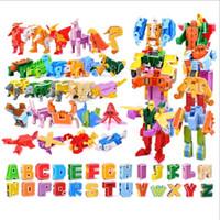 ingrosso blocchi di alfabeti-Gudi 26 English Letter Transformer Alphabet Robot Animal Creativo Action Figure educative Building Block Modello Toy Regali per bambiniMX190820