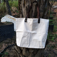 baumwollhandgriffbeutel großhandel-groß und dick 16 Unzen Baumwolle Leinentragetasche mit echtem Leder Griffe dicke Baumwollleineneinkaufstasche natürlicher Leinwand Weekender