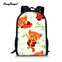 lindo anime panda al por mayor-Cartoon Cute Panda Print Mochila para niños Mochilas escolares Set Laptop Mochila niña School Bag Ortopédico Animal animado 3D