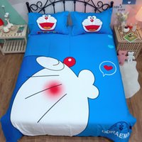 Wholesale white pink sheets black bedding for sale - Group buy Cartoon cat d Home Bedding Set Doraemon Kid Bedroom Pure cotton Bed Linen twin queen king Duvet Cover Bed Sheet blue bedclothes