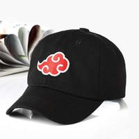 logo japanese toptan satış-100% Pamuk Japon Akatsuki Logo Anime Naruto Baba Şapka Uchiha Aile Logo Nakış Beyzbol Kapaklar Siyah Snapback Şapkalar dropship