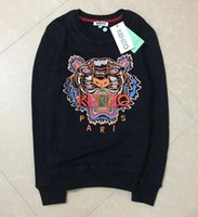 suéter largo de tigre al por mayor-Cabeza de tigre bordado suéter hombre mujer alta calidad manga larga cuello O bordado algodón puro terry KZ 16 COLORES