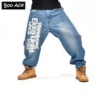 baggy jeans muster großhandel-Hip Hop Hosen Letters Pattern Hip Hop-Mann-Blau Baggy Jeans Skateboard-Denim-Hosen plus Größe Herren Jeans