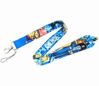 anime lanyards großhandel-Freies Verschiffen 30 PC-Mehrfarbenentwurfs-Anime EIN STÜCK Schlüsselketten-Handy-Ansatz-Bügel-Ansatz-Bügel-Schlüssel-Kamera Identifikation-Karten-Abzugsleine