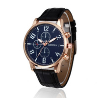 Wholesale list clocks for sale - Group buy New Listing Geneva Men Watch Fashion Male Quartz Watch Round Dial Clock Casual Leather WristWatch Cheap Sport Relojes
