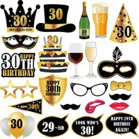 Wholesale day party makeup online - 30 Years Old Adult Birthday Party Photo Props Pieces Per Set Makeup Prop Wedding Christmas Halloween Funny Masks Decorations lz A1