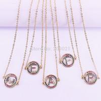 cd155405bfd5 12 Unids Moda Oro Color 26 Letra Alfabeto Colgante Collar A-Z Charm Joyería  de Las Mujeres Collares iniciales